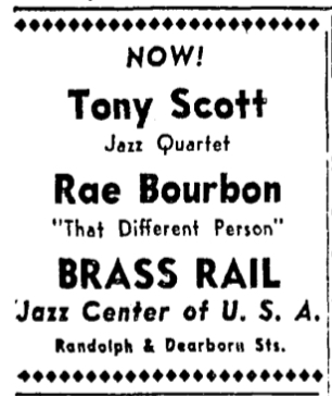 "Ad for ""Rae Bourbon - That Different Person"" at the Brass Rail in Chicago"