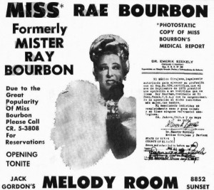 Ad for Rae Bourbon at the Melody Room with reproduction of statement from doctor