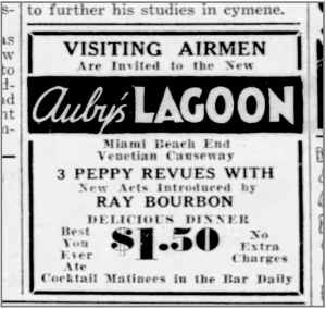 Ad for Ray Bourbon at Auby's Lagoon from Miami Herald