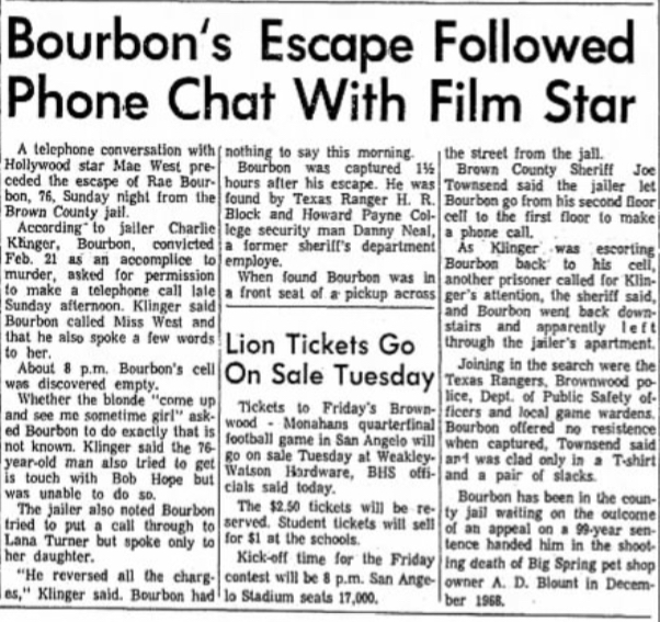 "Article from Brownwood Bulletin, ""Bourbon's Escape Followed Phone Chat With Film Star"""
