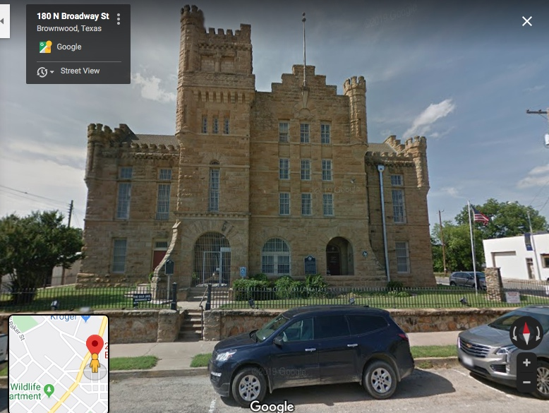 Photo from Google Maps street view of Brownwood County Jail; the structure was built to resemble a European castle.