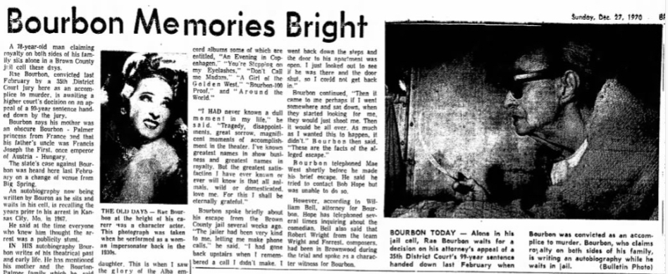 "Brownwood Bulletin article, ""Bourbon Memories Bright"""