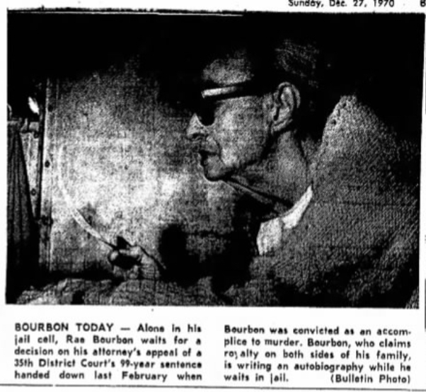 Photo of Ray, shown in profile and wearing glasses, in his jail cell from Brownwood Bulletin article.