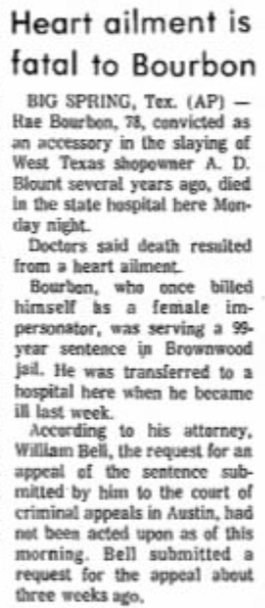 "Brownwood Bulletin article, ""Heart ailment is fatal to Bourbon"""