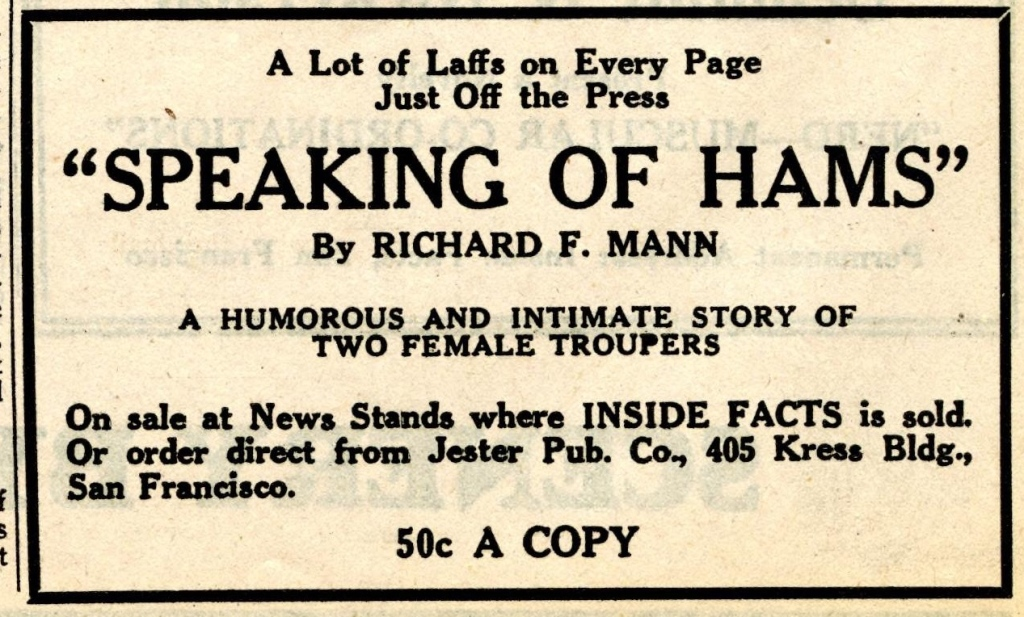 "Ad for ""Speaking of Hams"" by Richard F. Mann"