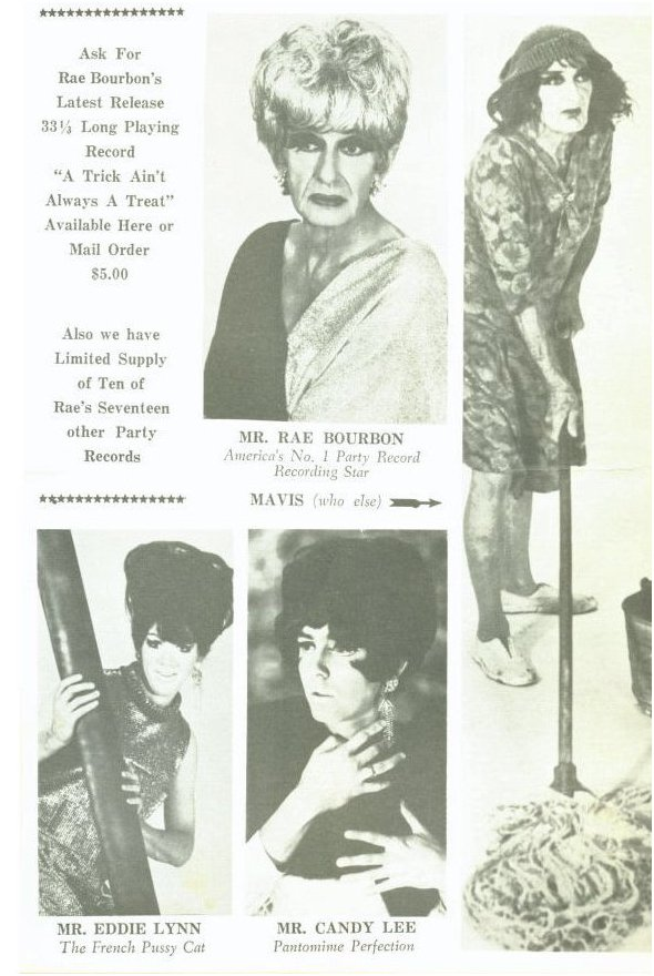 "Page from 1965 program of the Jewel Box showing Ray in his usual drag costume and as the ""mop lady"""