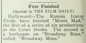 "Short piece from Film Daily on Ramon Icarez in ""Movie Mad"""
