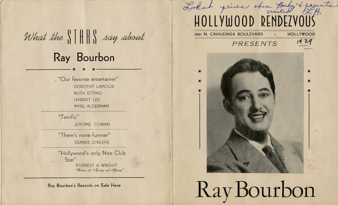 Front of drink menu for Ray's club, the Rendezvous with publicity photo of Ray