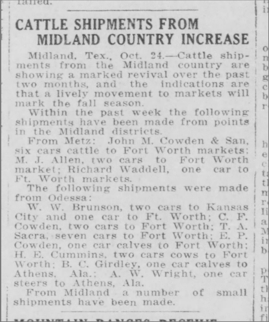 Image of El Paso article on cattle shipments mentioning Ray Waddell